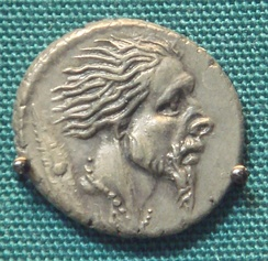Roman silver denarius with the head of captive Gaul 48 BC, following the campaigns of Caesar
