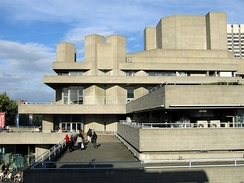"Denys Lasdun's building for the National Theatre – an ""urban landscape"" of interlocking terraces responding to the site at King's Reach on the River Thames to exploit views of St Paul's Cathedral and Somerset House."