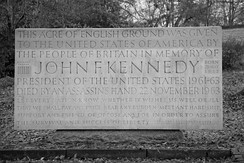 The John F. Kennedy Memorial at Runnymede, United Kingdom, placed on land given to the United States of America in 1965