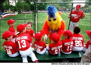 The Famous Chicken appears at the 2001 White House Tee Ball Initiative, a tee-ball game on the south lawn of the White House
