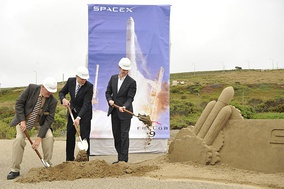 SpaceX breaking ground at Vandenberg Air Force Base, SLC-4E in June 2011 for the Falcon Heavy launch pad.