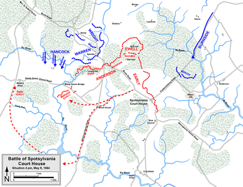 Positions and movements on the Union flanks, May 9