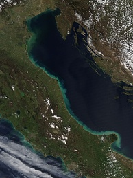Greenish band around the Adriatic coast of Italy