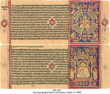 The Sūryaprajñaptisūtra, an astronomical work dating to the 3rd or 4th century BC, written in Jain Prakrit language (in Devanagari book script), c. 1500 AD.