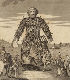 "An 18th century illustration of a wicker man, the form of execution that Caesar claimed the druids used for human sacrifice. From the ""Duncan Caesar"", Tonson, Draper, and Dodsley edition of the Commentaries of Caesar translated by William Duncan published in 1753."