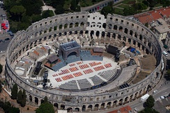 The Pula Arena in Croatia is one of the largest and most intact of the remaining Roman amphitheatres.