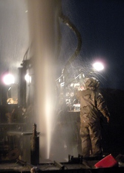 US Navy Seabees tapping an artesian well in Helmand Province, Afghanistan