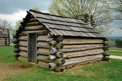 Replica log cabin at Valley Forge, Pennsylvania