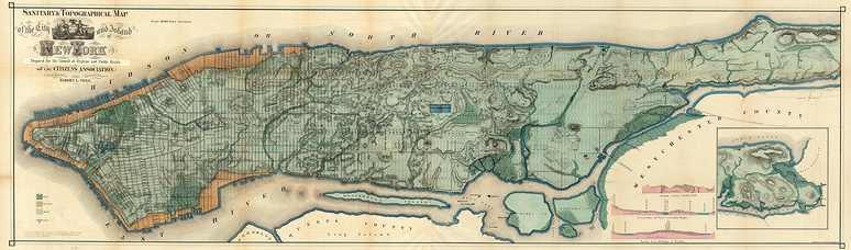 "The ""Sanitary & Topographical Map of the City and Island of New York"", commonly known as the Viele Map, was created by Egbert Ludovicus Viele in 1865"