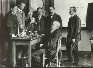 Wilhelm Wundt (seated) with colleagues in his psychological laboratory, the first of its kind.
