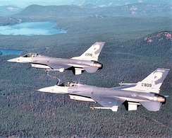 114th Fighter Squadron Block 15 ADF F-16A formation about 1990.