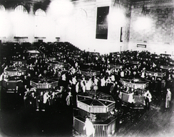 The New York Stock Exchange trading floor after the Wall Street Crash of 1929, before tougher banking regulation was introduced