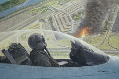 A North Dakota Air National Guard F-16 of the 119th Fighter Wing on a combat air patrol over the burning Pentagon on 11 September 2001, after the hijacked American Airlines Flight 77 crashed into it. (Gil Cohen, 9/11, National Guard Heritage Painting.)