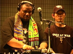 Afrika Bambaataa with DJ Yutaka of Universal Zulu Nation in 2004