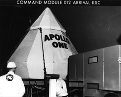 Command module 012, labeled Apollo One, arrives at Kennedy Space Center, August 26, 1966