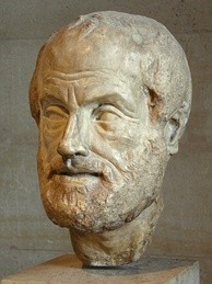 Portrait bust of Aristotle, an Imperial Roman (1st or 2nd century AD) copy of a lost bronze sculpture made by Lysippos