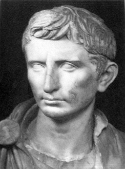 A reconstructed statue of Augustus as a younger Octavian, dated c. 30 BC