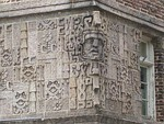 Detail of unusual Mayan revival motif on the old Elk's Building, currently housing the Aurora Election Commission.