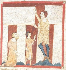 A giant helps Merlin build Stonehenge. From a manuscript of the Roman de Brut by Wace in the British Library (Egerton 3028). Dating back to the second quarter of the 14th century, this is the oldest known depiction of Stonehenge.