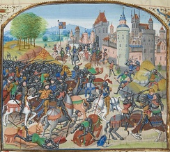 David II (lower left) captured at Neville's Cross, from an edition of Froissart's Chronicles