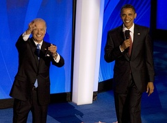 Barack Obama and Joe Biden appear together at the 2008 Democratic National Convention.