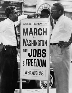 Bayard Rustin (left) and Cleveland Robinson (right), organizers of the March, on August 7, 1963