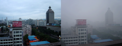 Beijing air on a day after rain (left) and a smoggy day (right)