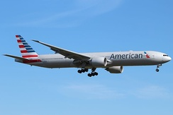 American Airlines Boeing 777-300ER in the new livery landing at London Heathrow Airport in 2013.