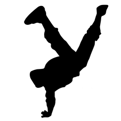 A silhouette shows a man break dancing. One of the 4 elements of hip hop.