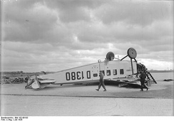 Focke-Wulf A 17 at Berlin-Tempelhof after sustaining storm damage in July 1928