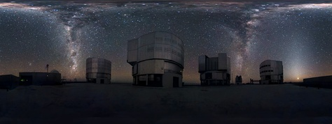 A 360-degree panorama of the Milky Way at the Very Large Telescope. Such a panorama shows the entire field of view (FOV) of the telescope in a single image. In the image, the Milky Way appears like an arc of stars spanning horizon to horizon with two streams of stars seemingly cascading down like waterfalls.[1]