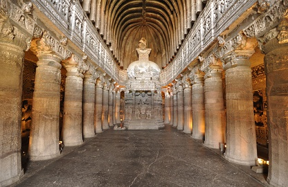"Buddhist ""Chaitya Griha"" or prayer hall, with a seated Buddha, Cave 26 of the Ajanta Caves."