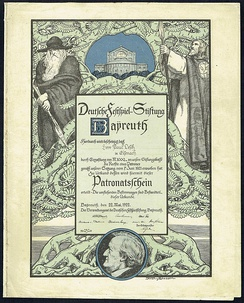 Patronage certificate for funding the Bayreuth festival, issued 22. May 1922