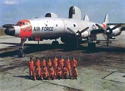 A crew photo of the EC-121H Warning Star (s/n 55-5262, ex-USN BuNo 141289) at Otis Air Force Base. This aircraft crashed off the island of Nantucket, Massachusetts on 11 November 1966, 40 minutes after takeoff from Otis due to engine problems, killing all 19 crewmembers aboard.