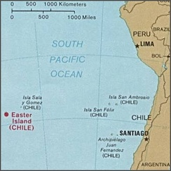 Location of Easter Island in the South Pacific Ocean