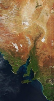 Satellite image of eastern South Australia. Note the dry lakes (white patches) in the north.