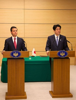 President Enrique Peña Nieto and Prime Minister Shinzō Abe at a press conference during an official visit to Japan by President Peña Nieto in April 2013.