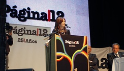 President Cristina Fernández de Kirchner, during the 25th anniversary of the newspaper