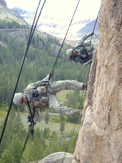 Soldiers during mountain warfare training