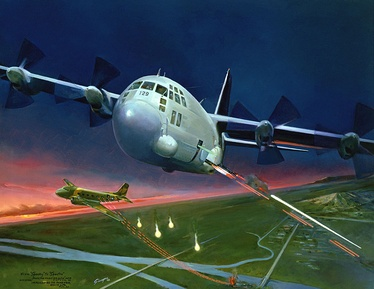"""From SPOOKY to Spectre"" from the USAF Art Collection, artist depiction of an AC-130 Spectre and AC-47 Spooky gunship, both engaging ground targets."