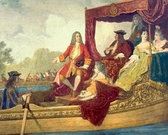 Handel (centre) and King George I on the River Thames, 17 July 1717, by Edouard Hamman (1819–88)