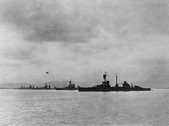 The 2nd Battle Squadron in Scapa Flow, 1918. Agincourt is nearest to the camera with Erin behind her. The other three are, in no order: King George V, Centurion and Ajax. Note the kite balloon over one of the more distant battleships.