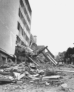 Collapsed Gran Hotel building in the San Salvador metropolis, after the shallow 1986 San Salvador earthquake.