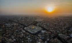The Mosques of Imam Hussain (foreground) and Abbas (background), in Karbala.