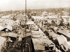 Bird's eye view of Kingston after the 1907 earthquake