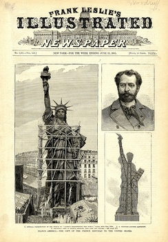 Frank Leslie's Illustrated Newspaper, June 1885, showing (clockwise from left) woodcuts of the completed statue in Paris, Bartholdi, and the statue's interior structure
