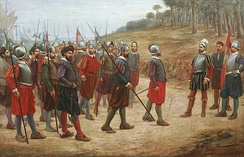 A group of 16th century conquistadors that participated in the Spanish conquest of Peru (second expedition) along with their leader, Francisco Pizarro.