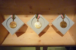 The gold medals of Jean-Claude Killy during the exhibition celebrating the fiftieth anniversary of the Games at the Musée dauphinois.