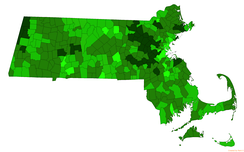 Towns in Massachusetts by combined mean SAT of their public high school district for the 2015–2016 academic year[195]