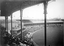 MCG, ca. 1914. The 1881 members' stand is the smaller building on the left